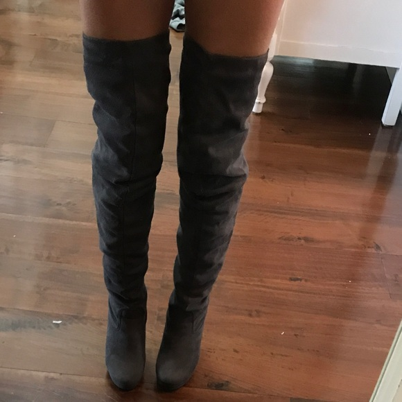 a84267c21833 Thigh high suede gray boots slouch lower 7. M 5ae61daf8af1c5ce0495ca0b